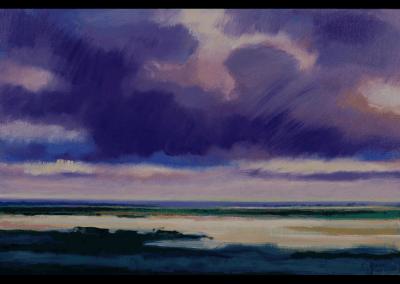 rivierlandschap met wolken