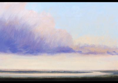 rivierlandschap met wolk