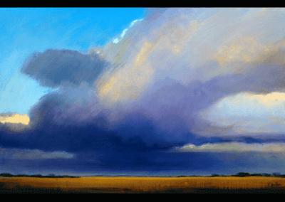 paarse wolk boven regte hei